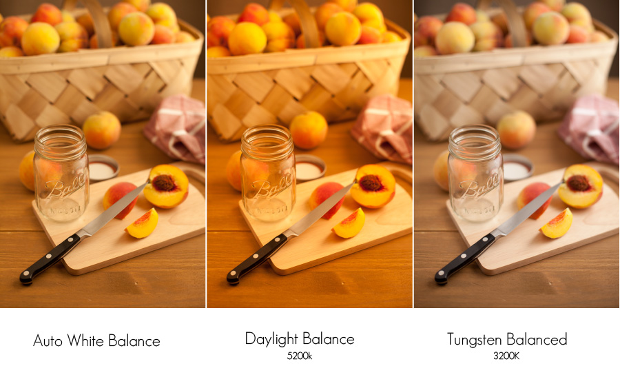 Notice how the Tungsten Balances setting is the most neutral with Tungsten lights. & Color Temperature and Food Photography azcodes.com