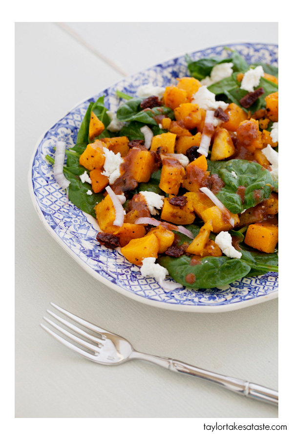 Roasted Squash and Spinach Salad