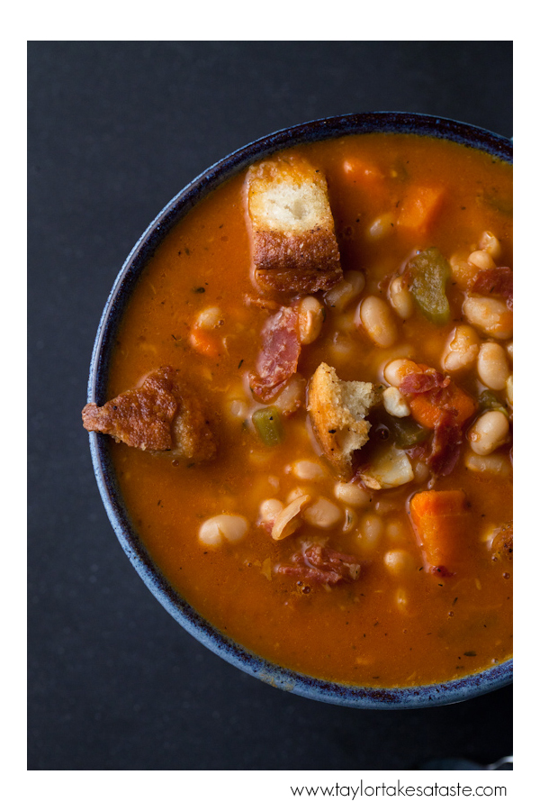 Navy Bean Soup with Garlic Croutons