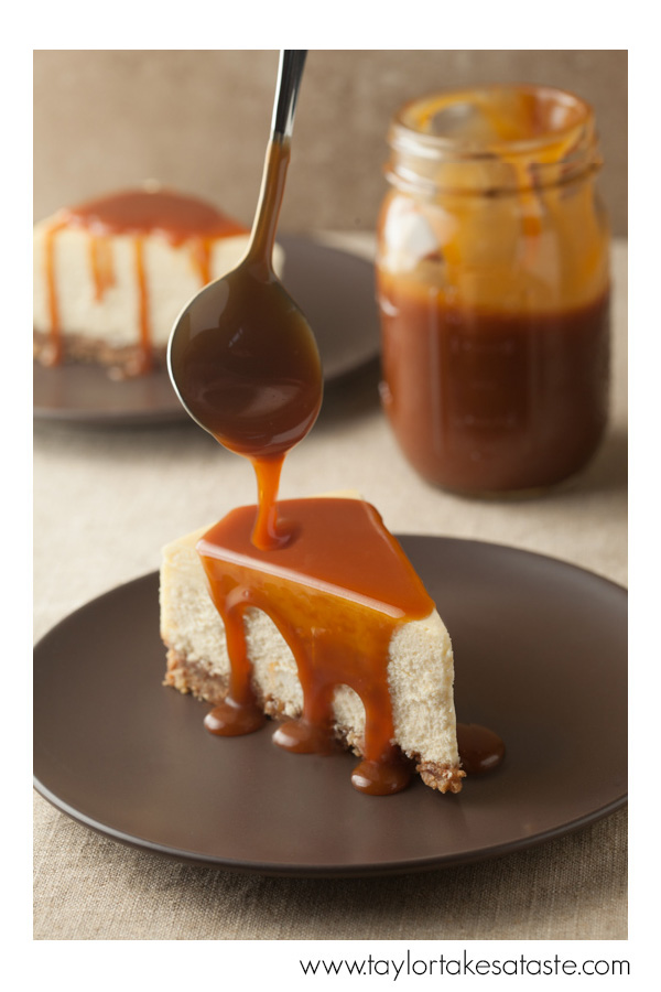 Creamy Almond Cheesecake with Amaretto Caramel Sauce
