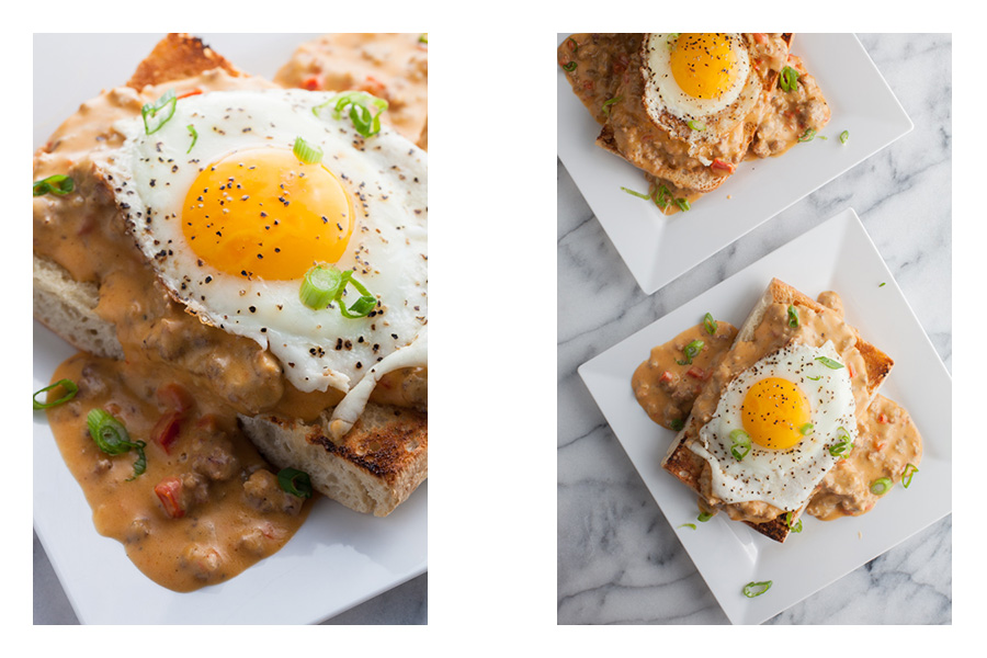 Open Faced Breakfast Sandwich with Cheddar Hot Sausage Gravy_compare