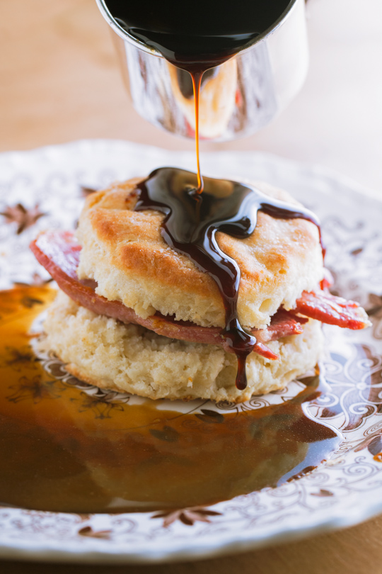 Buttermilk Biscuits with Country Ham, Red Eye Gravy and Molasses
