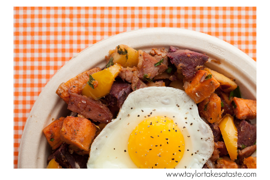 Purple, White, and Orange Sweet Potato Hash with Country Ham
