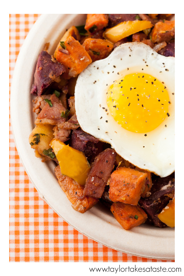 Purple White and Orange Sweet Potato Hash with Country Ham_3