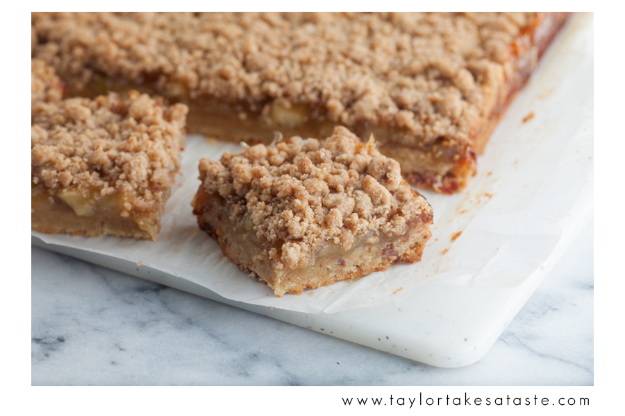 Apple Bourbon Streusel Bars with Bacon Shortbread Crust