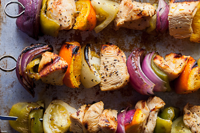 Grilled Orange Chicken and Green Tomato Kabobs