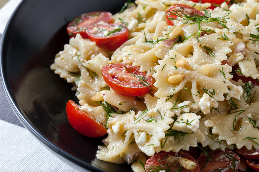 Pasta Salad with Feta, Tomato, Dill, and Pine Nuts